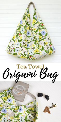 This tea towl origami bag sewing tutorial is simple and can be customized to any holiday, season, or event! Perfect for a quick project! bags easy Tea Towel Origami Bag Sewing Tutorial - Simple and Customizable! Easy Sewing Projects, Sewing Projects For Beginners, Sewing Tutorials, Sewing Hacks, Sewing Crafts, Sewing Tips, Tutorial Sewing, Purse Tutorial, Diy Gifts Sewing