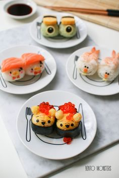 Disney Sushi - Donald, Pooh, Mike Wazowski and Olaf Cute Snacks, Cute Food, Good Food, Yummy Food, Japanese Food Art, Japanese Sweets, Kawaii Cooking, Sushi Art, Sushi Sushi