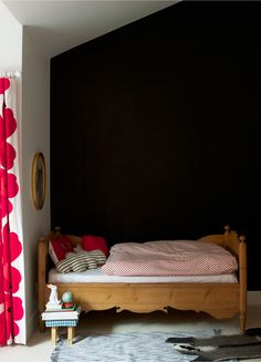 Try A Chalkboard Wall In A Kids Bedroom. The black wall would look great on the wall behind the TV. Baby Decor, Kids Decor, Girl Room, Girls Bedroom, Kid Bedrooms, Child's Room, Kids Room Curtains, Black Walls, Kid Spaces