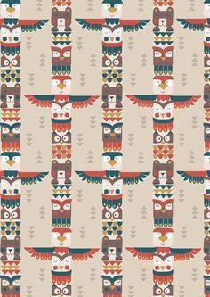 Big Bear Little Bear A105.1 - Bear & friends totem on milky tea from Lewis // Juberry Fabrics