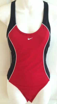 Nike one piece tank racer bathing suit swim suit size 12 red black padded bra
