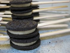 oreo on a stick | 52 cookies on a stick waiting to be coated.