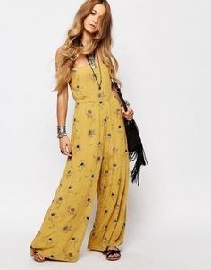 30412c160bf Anthropologie Free People Aster Gold Strapless Smocked Floral Jumpsuit XS  New