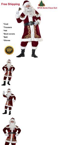 Men 52762  6Pcs Mens Santa Claus Suit Deluxe Father Christmas Xmas Fancy  Dress Costume -. DéguisementPapa NoëlRobesEbayHommesDéguisements ... b2b026d5c510