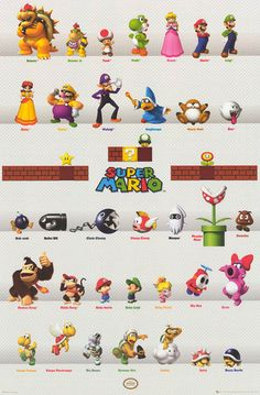 A great poster of characters from Super Mario Bros! Perfect for fans of classic Nintendo video games. Power Up with the rest of our amazing selection of Super Mario Bros posters! Need Poster Mounts. Mario Nintendo, Mario Bros., Mario And Luigi, Super Nintendo, New Super Mario Bros, Super Mario Party, Super Mario Brothers, Super Smash Bros, Nintendo Characters