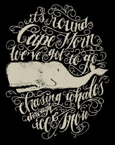 Cape Horn by Jon Contino Art Print {great typography, design, and i love the whale.} Cape Horn by Jon Contino Art Print Inspiration Typographie, Typography Inspiration, Graphic Design Inspiration, Cool Typography, Typography Letters, Graphic Design Typography, Lettering Design, Illustration Vector, Whale Illustration