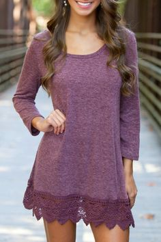 3/4 Sleeve Lace Hem Purple Dress