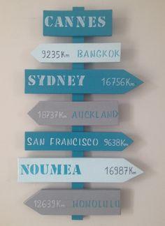panneau de direction en bois de palette style loft industriel : Décorations…                                                                                                                                                                                 Plus