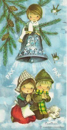 Bonita postal doble: Alegorias de Navidad. Editada por CyZ, nº 473/1-D. Año 1967 - Foto 1
