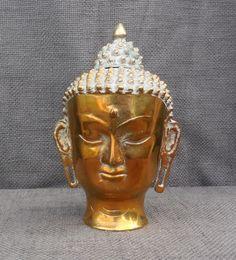 Beautiful Vintage Large BUDDHA HEAD Statue...Cast Brass...Serene Asian God Deity Figurine Sculpture...Buddhism...Interior Decor by SlimandSugar on Etsy