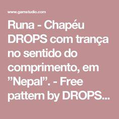 """Runa - Chapéu DROPS com trança no sentido do comprimento, em """"Nepal"""". - Free pattern by DROPS Design"""