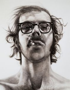 'Big Self-Portrait' - Chuck Close, acrylic on canvas, 1968 [563x720]