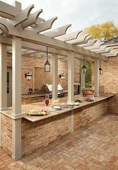 This outdoor kitchen can also be joining kitchen to the inside  of the house