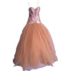 Pre-owned Precious Formals Gold Strapless Tulle Ballgown Prom Beading... ($119) ❤ liked on Polyvore featuring dresses, gold, gold prom dresses, corset prom dresses, gold beaded dress, strapless dress and sparkly prom dresses