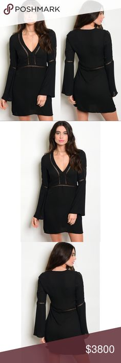 Black Deep V Crochet Bell Sleeve Dress Coming ❣️Black Deep V Bell Sleeve Dress 100% Polyester  No Trades Price is Firm Unless Bundled GlamVault Dresses
