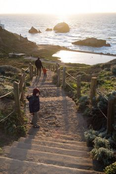 Sutro Baths, Lands End, one of San Francisco's most picturesque spots. The nation's largest public swimming pools–they were built here on the ocean in 1896 but burned down in the 1960s.The park also includes the Legion of Honor, has spectacular views of the Golden Gate Bridge, etc.