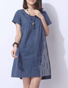 Vestido de lino de algodón azul vestido de algodón blusa de la camisa floja ocasional de lino vestido tops grande de algodón bordada blusa de lino del vestido más el vestido del tamaño