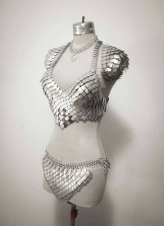The Silver Queen-Deluxe Scale Maille scalemail bra by ItIsKnown