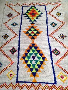 Vintage Moroccan rug  Boucherouite wool Fluo by BazaarLiving, £345.00