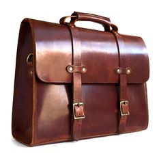 vintage men's full grain leather briefcase in vintage brown side