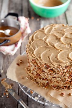 This chocolate cake has a caramel pecan filling and is put together like a poke cake. *drool*