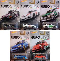 Euro-Style-Car-Culture-5-Modellautos-Porsche-BMW-Golf-Fiat-1-64-Hot-Wheels-DJF77