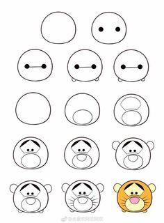 my weblog: How to draw Tsum Tsum? Drawing Journal, Drawing Lessons, Drawing Tips, Drawing Sketches, Cute Kawaii Drawings, Kawaii Art, Cute Animal Drawings, Disney Drawing Tutorial, Drawing Tutorials For Kids
