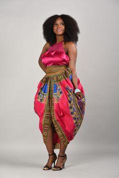 SALE Pink Dashiki Harem Skirt by RAHYMA on Etsy ~African fashion, Ankara, kitenge, African women dresses, African prints, African men's fashion, Nigerian style, Ghanaian fashion ~DKK