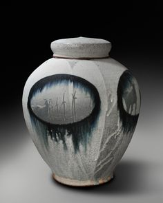 "Jane Shellenbarger - ""Where Do We Go From Here""?, 14""h x 10"" diameter, Black Stoneware, Soda fired and Post fired"