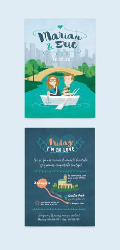 Wedding invitation with illustration of Central park (New York) by http://bogartybacall.com/portfolios/marian-y-eric/