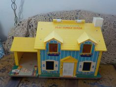 1969 Vintage Fisher Price Little People Yellow  Tudor House by Daysgonebytreasures on Etsy