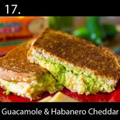 Creamy guacamole & spicy Habanero Cheddar = one amazing grilled cheese ...