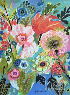 Secret Garden. By Karen Fields. Original mixed media painting and prints available. Framed prints, canvas prints, zipper bags, notecards, too.