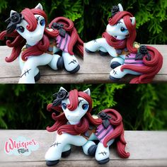 Nightmare before Christmas Sally inspired Filly  By Whisper Fillies Unique handmade polymer clay horse, pony, unicorn and fantasy creatures. Visit my collection of adorable little  figurines on Facebook, Instagram and Etsy!  Whisperfillies.etsy.com