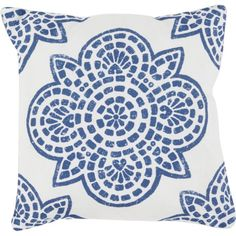 Lend a pop of pattern to your sofa, arm chair, or bedding with this stylish pillow, showcasing a medallion motif in blue and white.