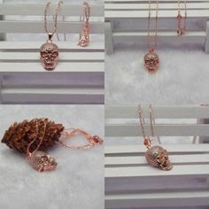 Fashion 18K Rose Gold Skull Necklace &Pendant Women Halloween Day Jewelry Gift #Unbranded #CocktailHalloween #HalloweenParty