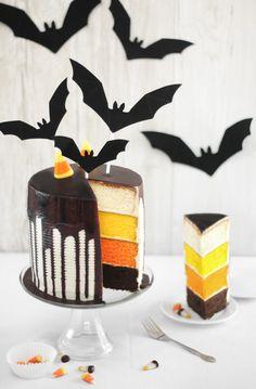 Sprinkle Bakes: Candy Corn Tuxedo Cake