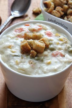 Slow cooker leftover Thanksgiving turkey and mashed potato chowder recipe from /bakedbyrachel/