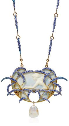 René Lalique - Art Nouveau galalith, enamel and pearl pendant necklace, cica 1905. The galalith cameo pendant figuring the profile of a nymph, set within a spray of lavender flowers, suspending a baroque pearl, to the similarly-set chain, pendant 9.5 cm, with French assay marks for gold, signed Lalique.