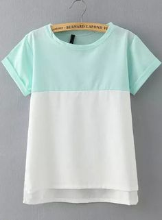 Green White Short Sleeve Loose Blouse