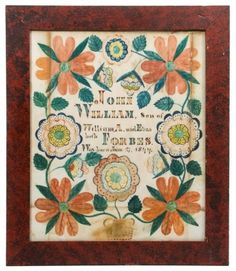 Southern folk art fraktur birth record (dated 1844) for William Forbes, probably Tennessee or Virginia. 12 in. x 10 in.