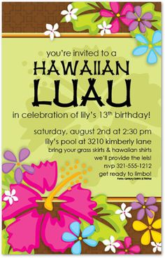 Tropical Luau Party Invitations, 28311