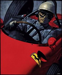 Illustration by Mark Summers depicting driver Phil Hill racing his Ferrari 156 in 1961.