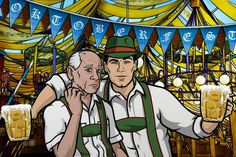 Woodhouse and Archer welcome you to Oktoberfest! archer You are in the right place about house moving illustration Here we offer you the most beautiful pictures about the house movi Archer Tv Show, Archer Fx, The Woodhouse, Sterling Archer, Bobs Burgers, Adult Cartoons, Action Film, Cool Animations, Moving House
