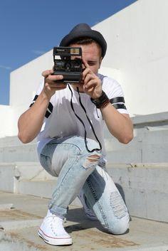 Men's Style, White Converse, Polaroid Camera, Street Fashion