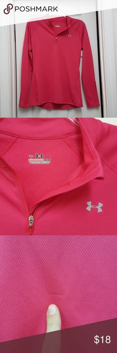 Pink Under Armour Long Sleeve Jacket Small Pink, not red. Good condition. A couple of very minor snags are pointed out in the pics. Very soft and comfy. Size small! :) Women's pink Under Armour zip pullover sweatshirt. Under Armour Tops Sweatshirts & Hoodies