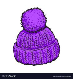 Bright purple winter knitted hat with pompon Vector Image