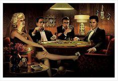 Marilyn Moroe james dean | the stars playing poker marilyn monroe humphrey bogart james dean ...