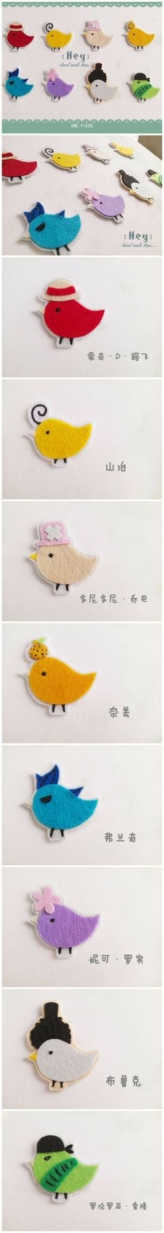 """ONE PIECE"" characters non-woven birds   * ONE PIECE 航海王 *不織布胸針"