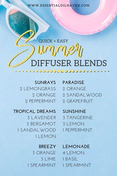8 Summer Diffuser Blends You'll Want to Try! 8 Quick + Easy Summer Diffuser Blends You'll Want to Try! Summertime favorite diffuser recipes to bring the energy of the summer months inside your home! Essential Oil Diffuser Blends, Doterra Essential Oils, Anxiety Essential Oil Blend, Young Living Oils, Young Living Essential Oils, Uses For Essential Oils, Essential Oil Combinations, Diffuser Recipes, Belleza Natural